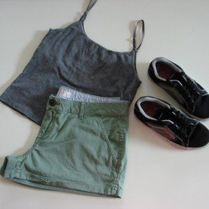 SO Green Cuffed Everyday Plus Sz  Cotton Shorts 15